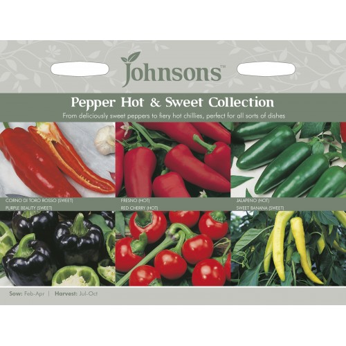 Seminte CAPSICUM annuum COLLECTION -Johnsons - Colectie de ardei -3 dulci si 3 iuti