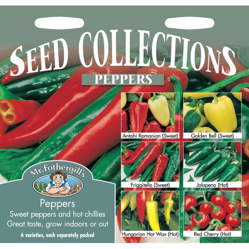 Seminte CAPSICUM annuum COLLECTION -Mr-Fothergills - Colectie de ardei -3 dulci si 3 iuti