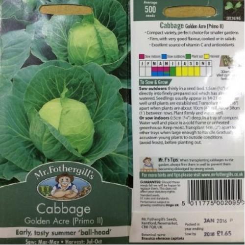 Seminte BRASSICA-Cabbage- oleracea capitata Golden Acre (Primo II)-Varza timpurie